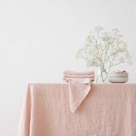 Dug i hør, lyserød, stenvasket