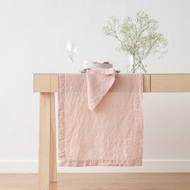 Bordløber i hør, lyserød, stenvasket