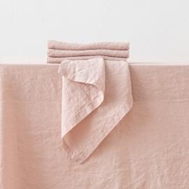 Serviet i hør, lyserød, stenvasket