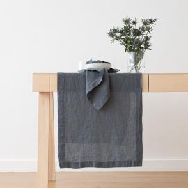 Blå bordløber i hør, stenvasket