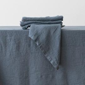 Stenvasket blå serviet i hør
