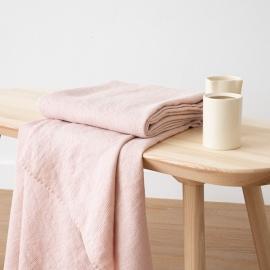 Badehåndklæde i Hør Rosa Forvasket Waffle