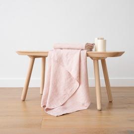 Badehåndklæde i hør, lyserødt, forvasket, Waffle