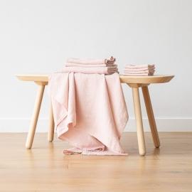 Vaskeklude i hør, lyserøde, 4 stk., forvaskede, Waffle