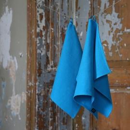 Badehåndklæde og gæstehåndklæde i hør, turkis, Lara