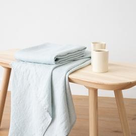 Badehåndklæde i Hør Forvasket Isblåt Waffle