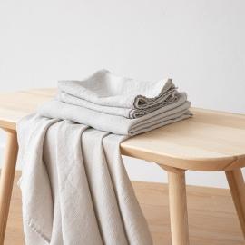 Badehåndklæde og håndklæde i hør, sølv, forvaskede, Waffle