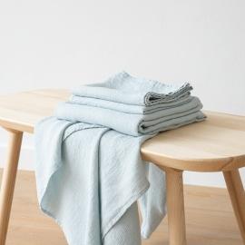 Badehåndklæder af 100% hør, isblå, 2 stk., Waffle