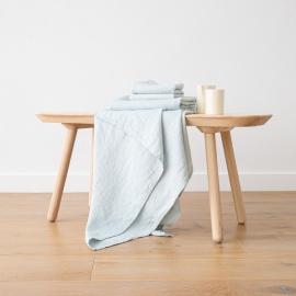 Badehåndklæde og håndklæde i hør, isblå, forvaskede, Waffle