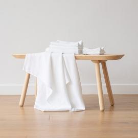 Badehåndklæde og Håndklæde i hør, hvide, forvaskede, Waffle