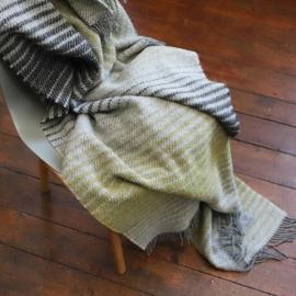 Plaid i 100% uld, grå / gul, Alberto