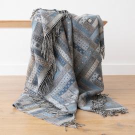 Plaid i merino uld, blå, Marta