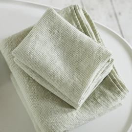 Badehåndklæde og Håndklæde i Hør Aloe Grøn Forvaskede Waffle