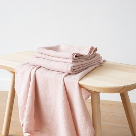 Badehåndklæde og Håndklæde i hør, lyserøde, forvaskede, Waffle