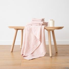 Badehåndklæde og Håndklæde i Hør Rosa Forvaskede Waffle