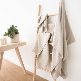 Håndklæder i hør, 4 stk., beige, Twill