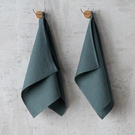 Håndklæder i hør, grøne, sæt á 2 stk., Lara