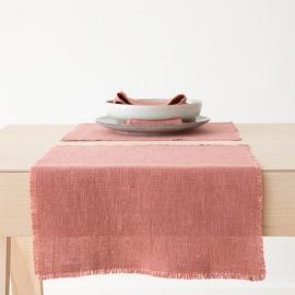 Dækkeserviet i hør, lyserød, Rustic
