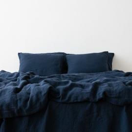Dynebetræk i 100% hør, marineblå, forvasket