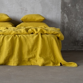 Sengesæt i hør, gult, stenvasket