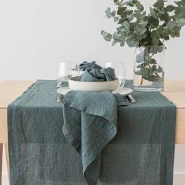 Mørkegrøn bordløber i hør, stenvasket