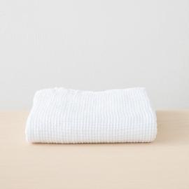 Badehåndklæde i hør, hvid, forvasket, Waffle