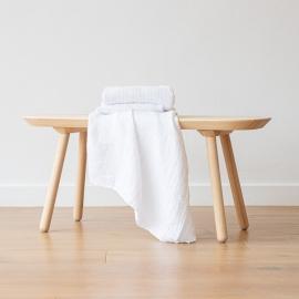Badehåndklæde i hør, hvidt, Waffle