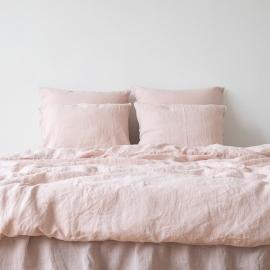 Sengesæt i hør, lyserødt, stenvasket