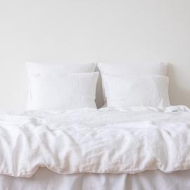 Sengesæt i hør, hvidt, stenvasket