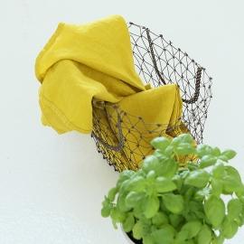 Viskestykker i hør, 2 stk., gule, stenvaskede