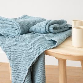 Badehåndklæde i hør, sten-blå, forvasket, Waffle