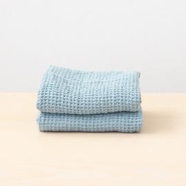 Håndklæder i hør, 2 stk., sten-blå, Waffle