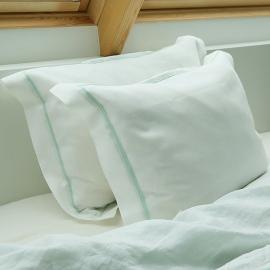 Luksus-hovedpudebetræk i hør, hvidt, med hulsømme
