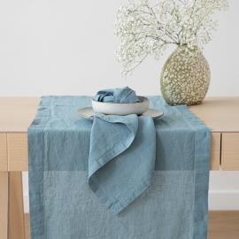 Bordløber i stenvasket hør, stein blå