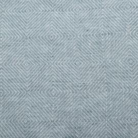 Dynebetræk-stof i hør, stenvasket, blå, Rhomb