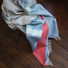 Plaid i merino uld, stenblå, Marco