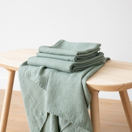Badehåndklæde og håndklæde i hør, spa green, forvaskede, Waffle