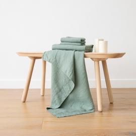 Badehåndklæde og Håndklæde i Hør Spa Grøn Forvaskede Waffle