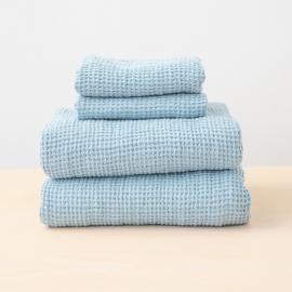 Sæt af badehåndklæde og håndklæde i 100% hør, blå, forvaskede, Waffle