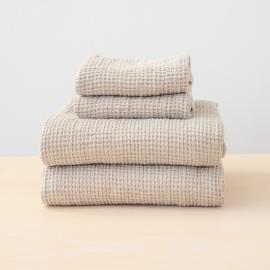 Sæt af badehåndklæde og håndklæde i 100% hør, forvasket, Natural Waffle