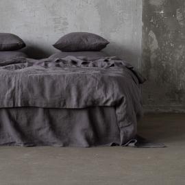 Dynebetræk i hør, forvasket, Steel Grey