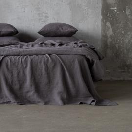 Fladt lagen i hør, forvasket, Steel Grey