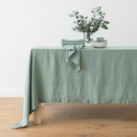 Borddug i hør, grøn, stenvasket, Spa