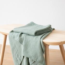 Badehåndklæde i hør, grønt, forvasket, Waffle