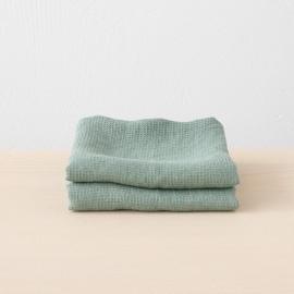 Håndklæder i hør, spa-grøne, 2 stk., Waffle