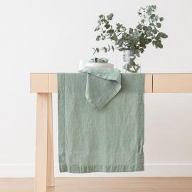 Lysegrøn bordløber i hør, stenvasket