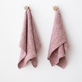 Håndklæder i hør, 2 stk., røde, Francesca