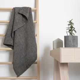 Badehåndklæde i hør, sort, Chevron Huckaback