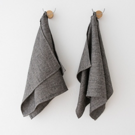 Badehåndklæder i hør, 2 stk., sorte, Chevron