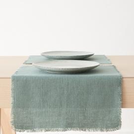 Bordløber i hør, spa-grøn, Rustic